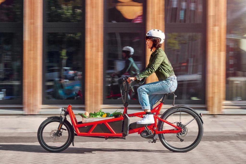 Cyclist on a cargo e-bike
