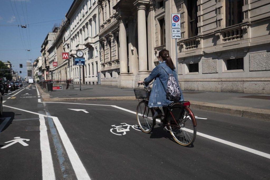 A bike lane in Milan