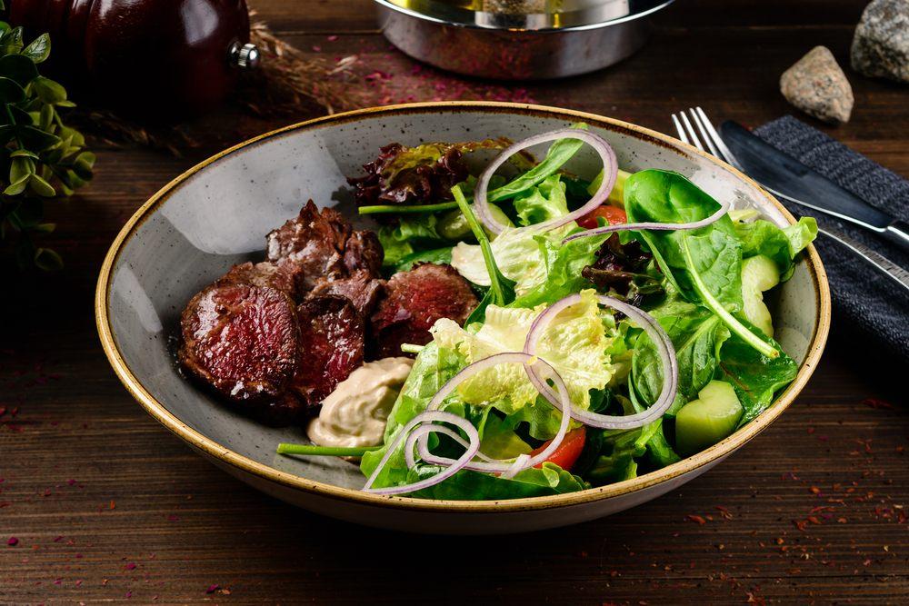 Steak and salad