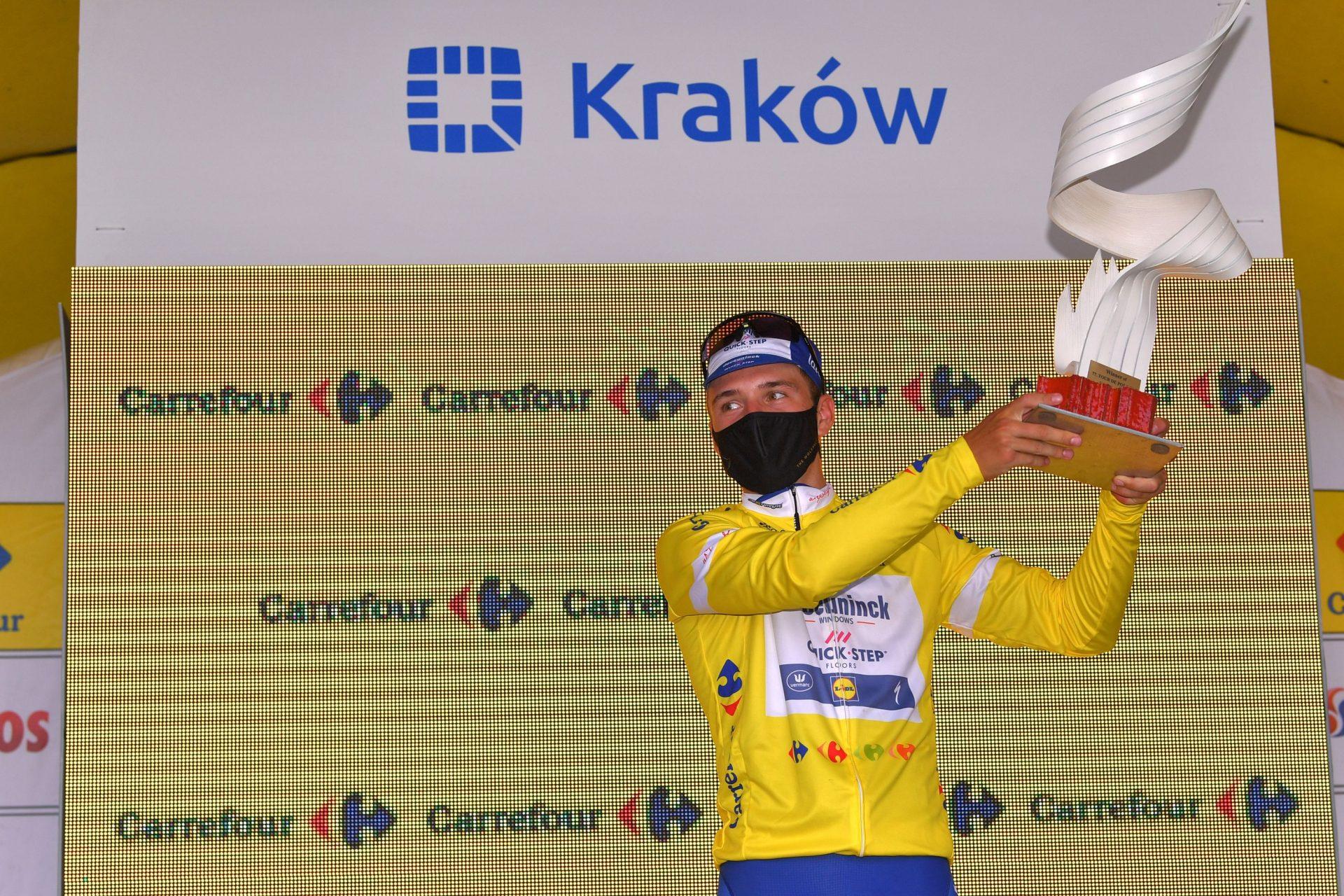 Remco Evenepoel jako šampion etapového závodu Kolem Polska. Foto: Luc-Claessen-Getty-Images/Deceuninck Quick Step