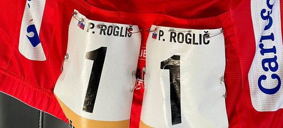 Primož Roglič, respektive jeho rudý dres za celkové vítězství na Vueltě 2020. Foto: instagram Primož Roglič