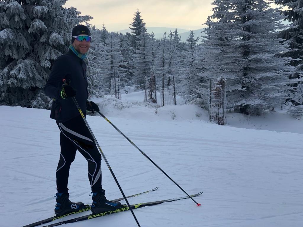 Běžky představuji pro elitního českého bikera Kristiana Hynka skvělý zimní trénink.