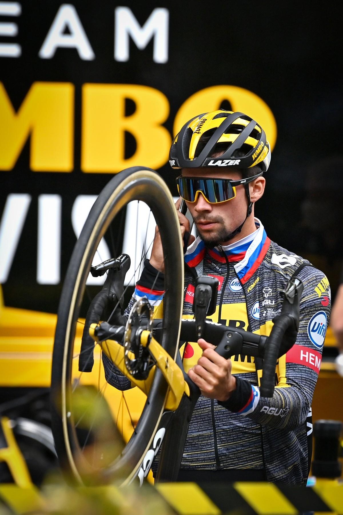 Primož Roglič nově použije na Tour de France kolo s kotoučovými brzdami. Foto: profimedia 2x