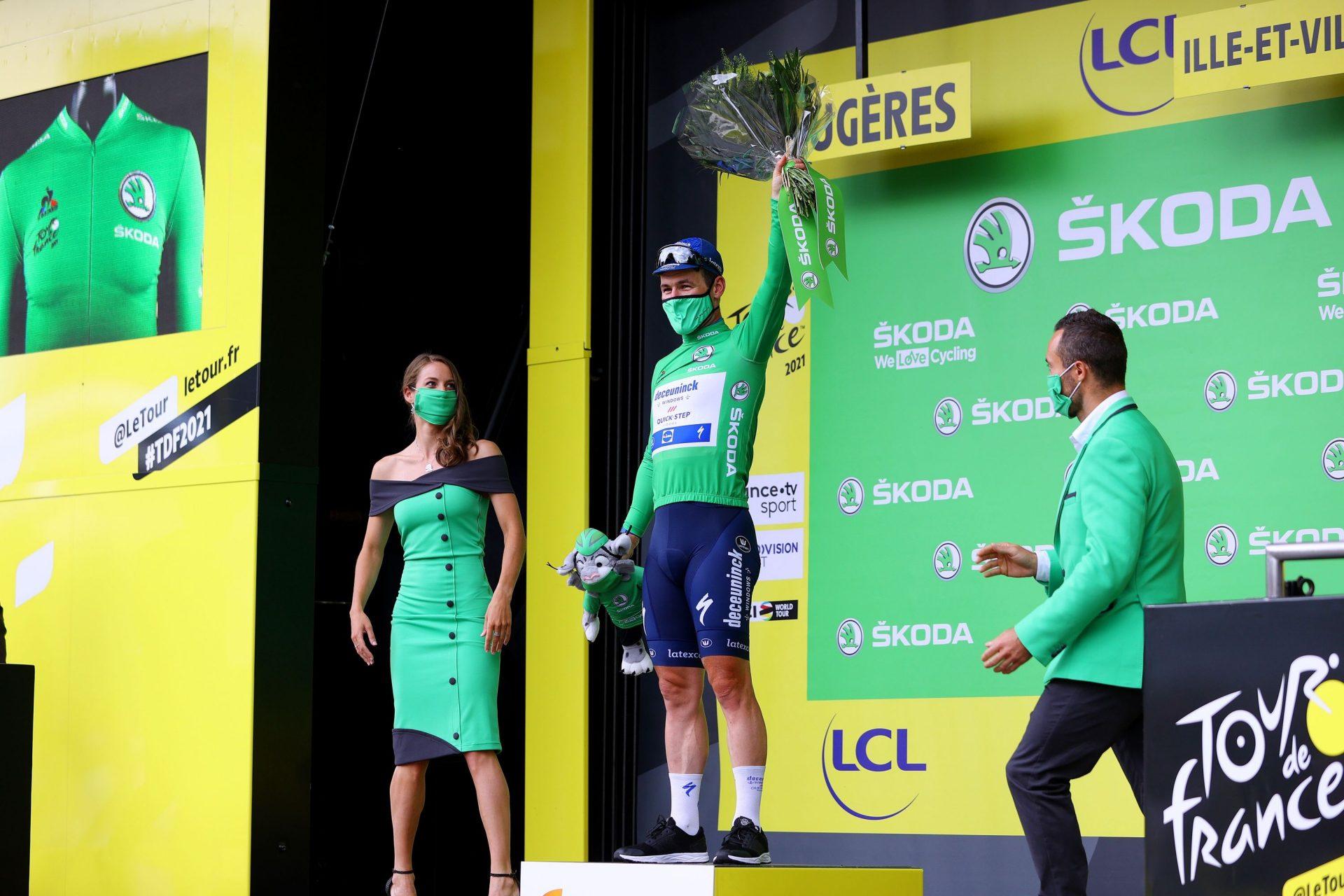 Mark Cavendish v zeleném dresu pro lídra bodovací soutěže. Foto: Tour-de-France-Green-Jersey-Stage-4-_Tim-De-Waele-Getty-Images