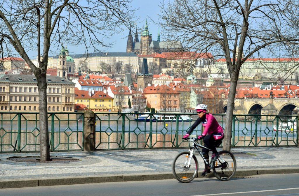 Cyclist in Prague