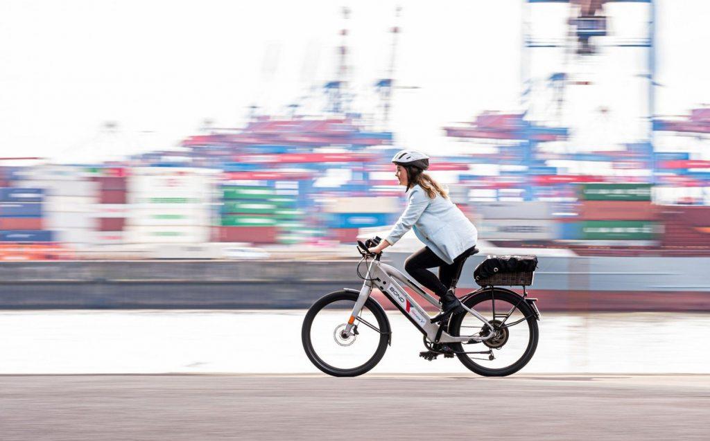 Woman on e-bike