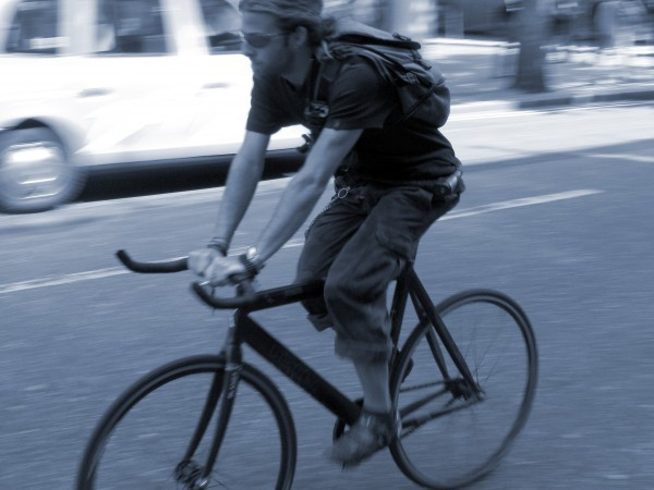 Messenger on a fixed-gear bike