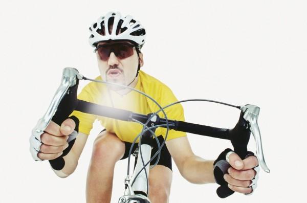 Hard breathing bicyclist