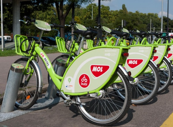 """Docking station of the """"BuBi"""" bicycle sharing system, Budapest, Hungary"""