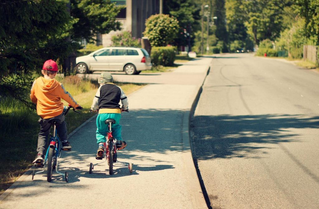 When it comes to equipment, make sure the bike is the right size for the child and that they always wear a helmet. Bicycles should be roadworthy, so check the tyres and the breaks, and make sure their helmet fits correctly.