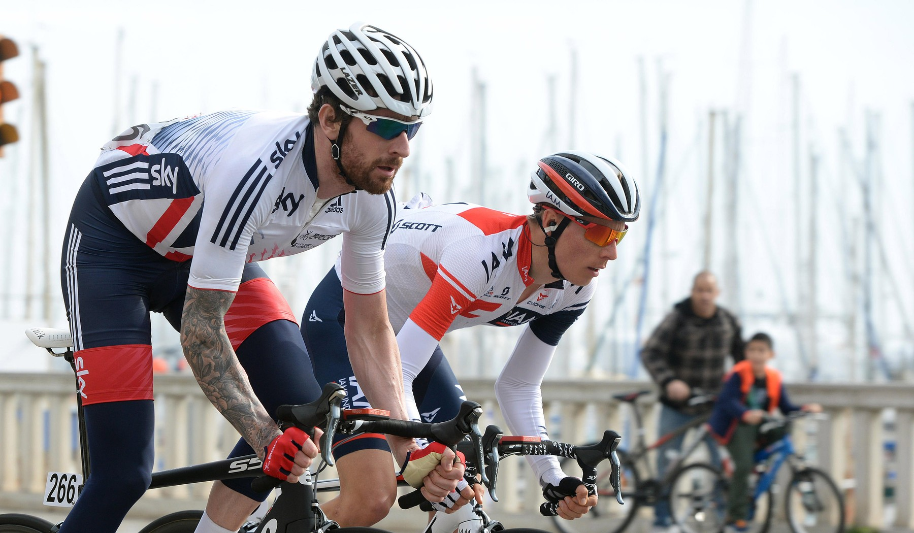 The British cyclist Bradley Wiggins during the Cyclist Challenge 2016 on the Majorca roads, with the National British team.