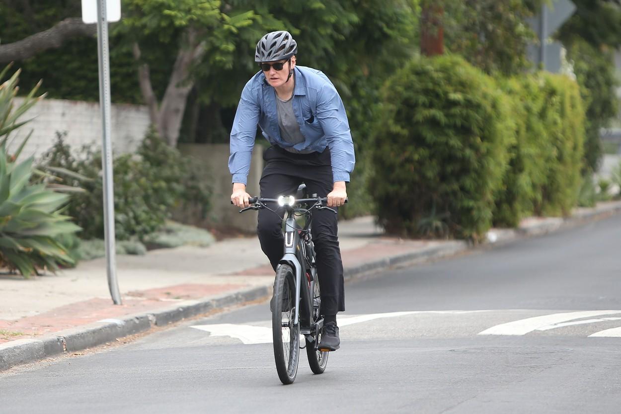 Conan O'Brien riding his e-bike in Santa Monica.