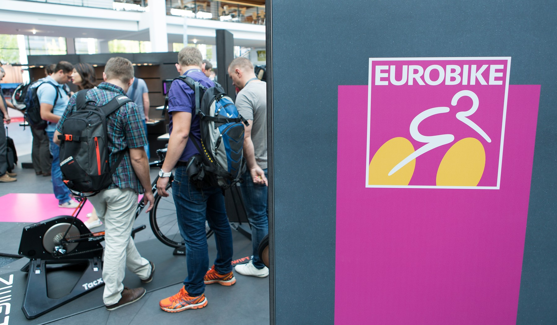 Visitors of the Eurobike fair stand in a fair hall in Friedrichshafen,Germany, 31 August 2016., Image: 298409382, License: Rights-managed, Restrictions: , Model Release: no, Credit line: Profimedia, TEMP EPA