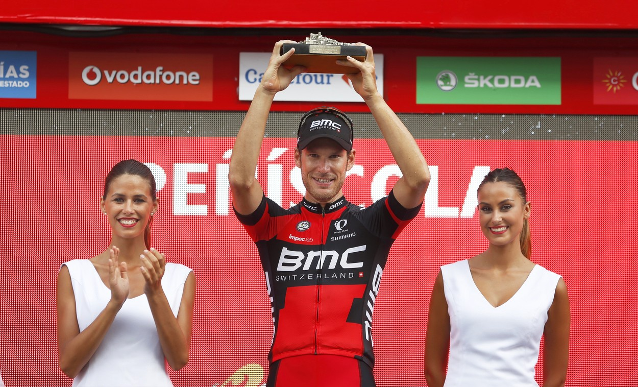 Luxembourg rider Jean-Pierre Drucker (C) of the BMC Racing Team celebrates on the podium after winning the 16th stage of the Vuelta a Espana cycling race over 156.4km from Alcaniz to Peniscola, Spain, 05 September 2016., Image: 298931479, License: Rights-managed, Restrictions: , Model Release: no, Credit line: Profimedia, TEMP EPA