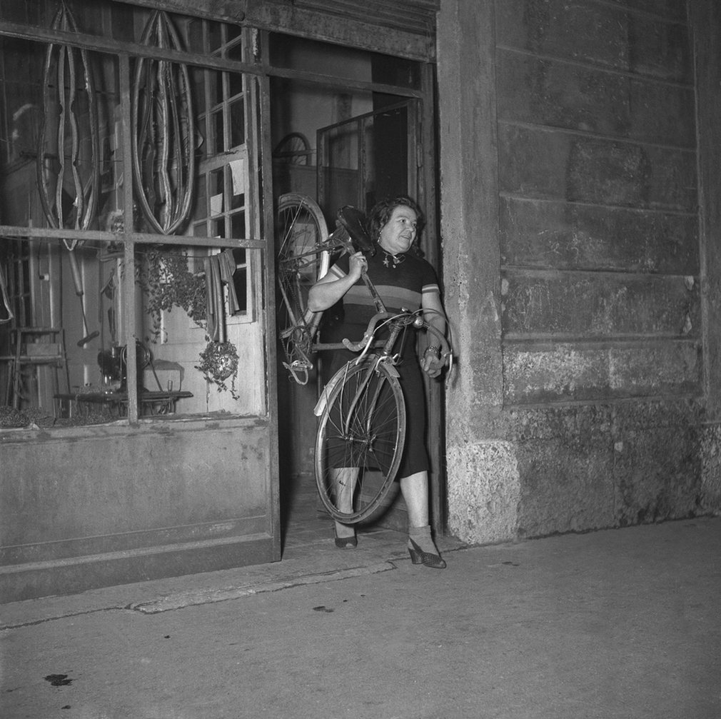 Alfonsina Morini at her cycling shop on Via Varesina in Milan. Morini is the only woman to have competed in the Giro d'Italia, she took part in the 1924 race.