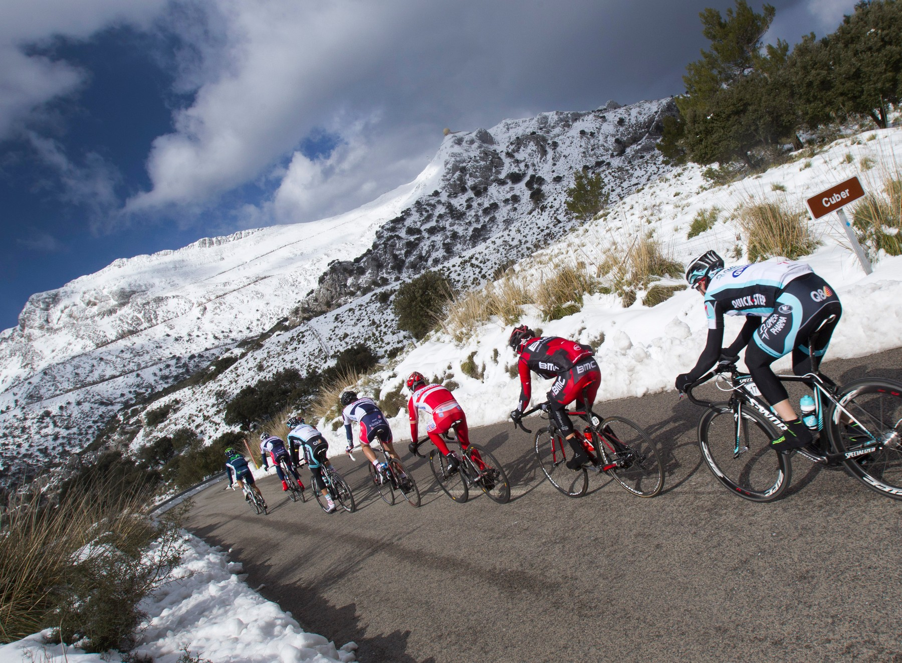 The pack ride in the tramuntana Mountains during the third stage of the Mallorca Challenge race on February 7, 2012., Image: 116844761, License: Rights-managed, Restrictions: , Model Release: no, Credit line: Profimedia, AFP