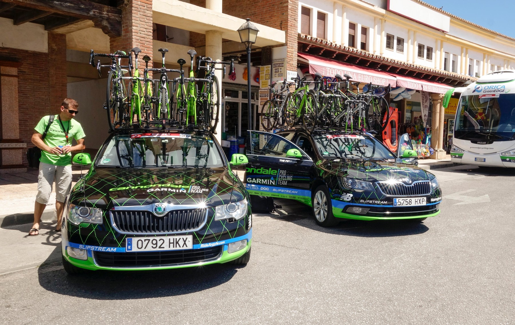 Broom wagons of Cannondale-Garmin Pro Cycling Team. At La cala de Mijas.