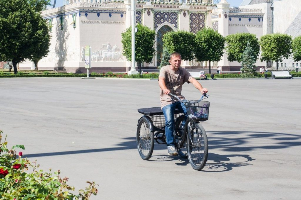 A man on a tricycle