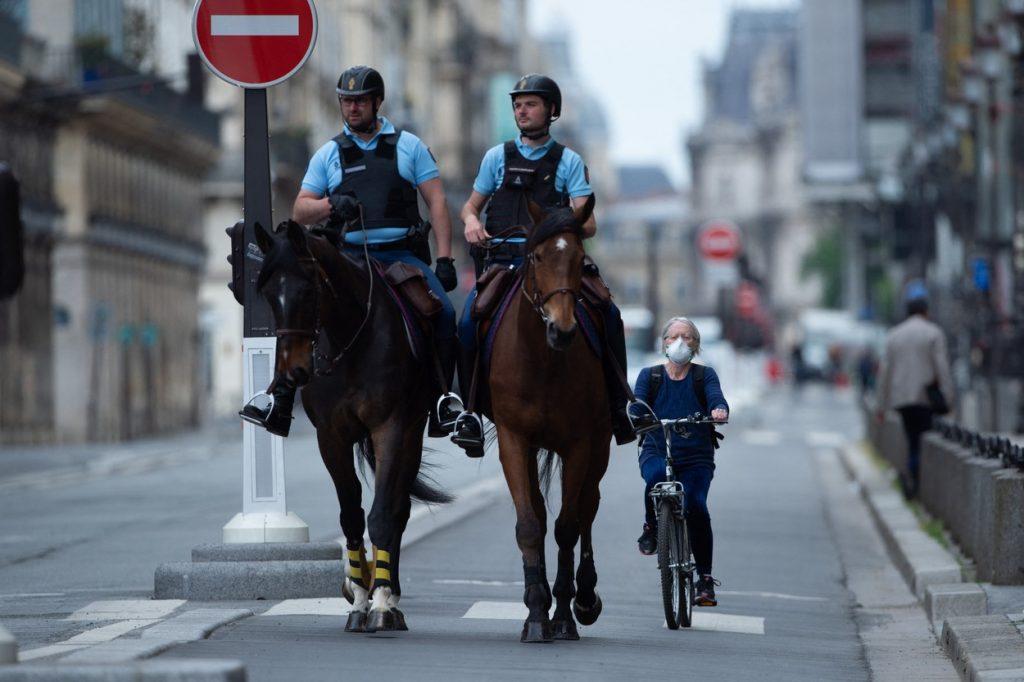 Passing horses on a bike