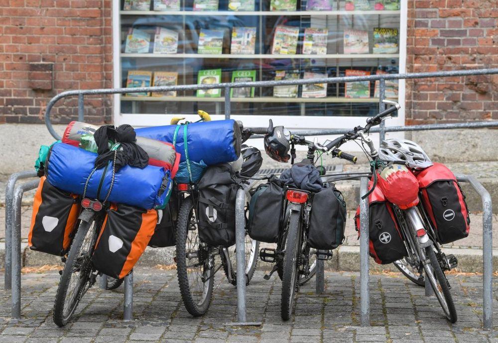 Bike racks with bags