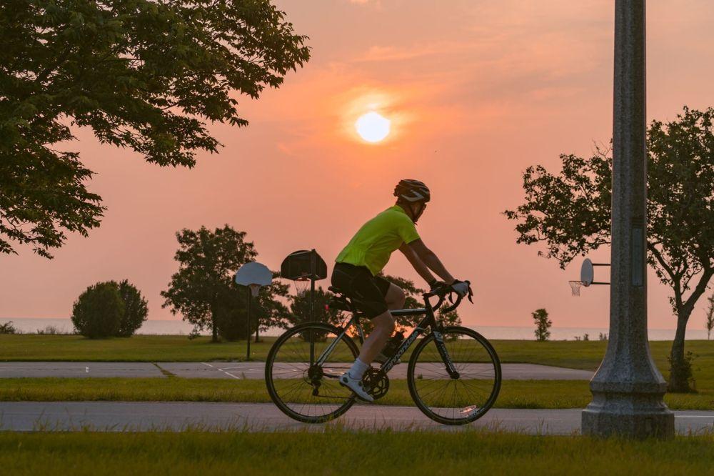 Cycling at sunset