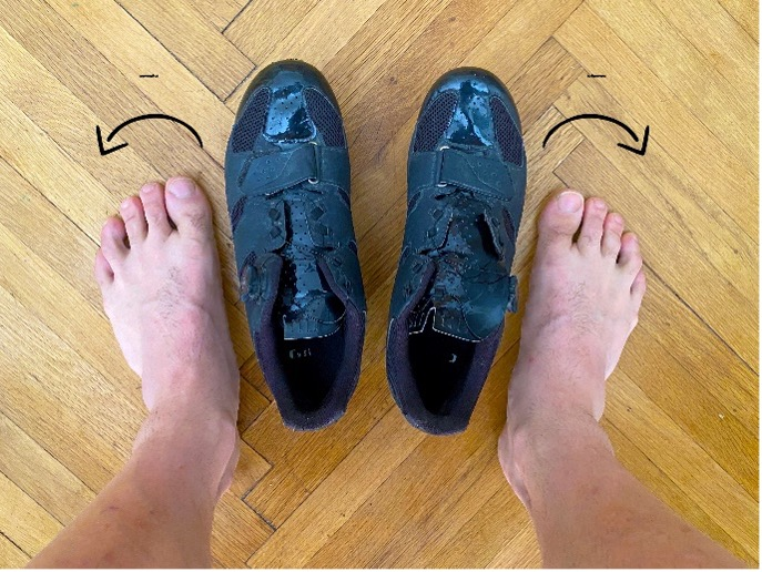 Whether you are out or in-toeing, you need to compensate for that by adjusting the cleats' angle