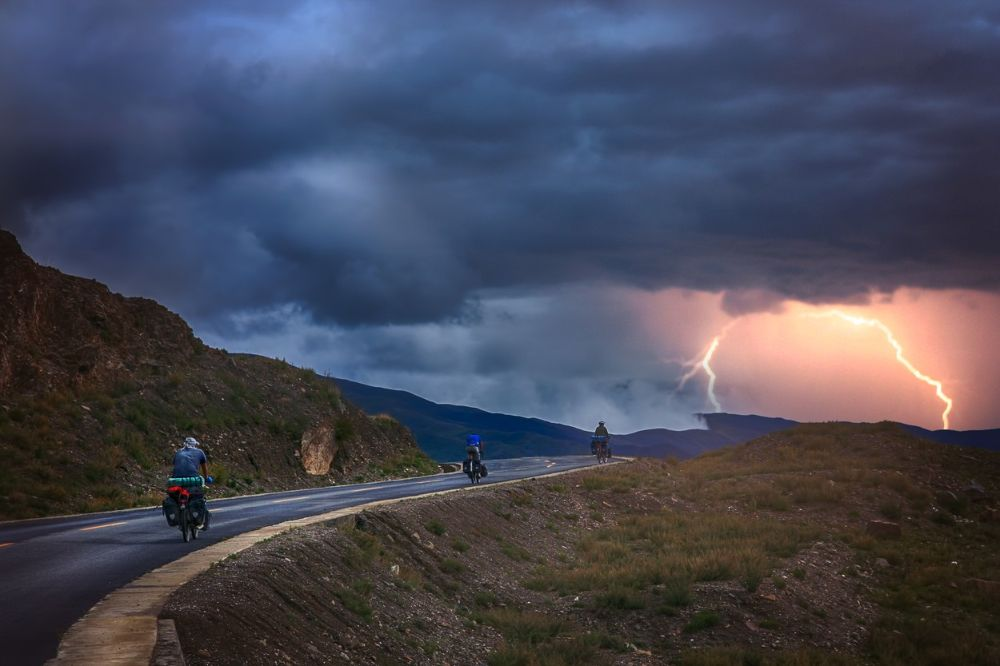 Cycling in storm