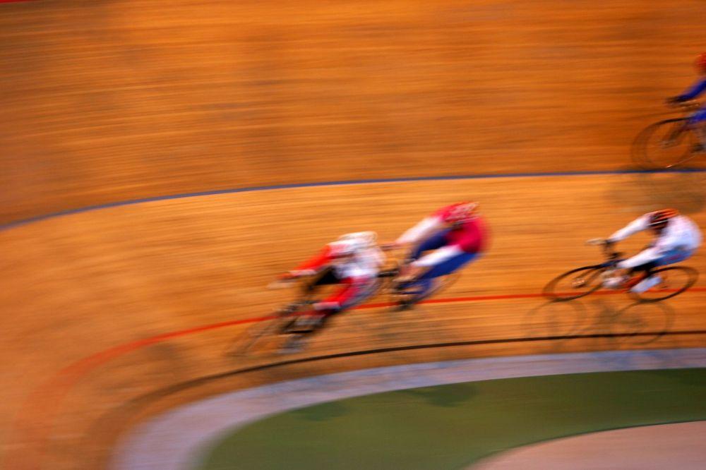 Riding at velodrome