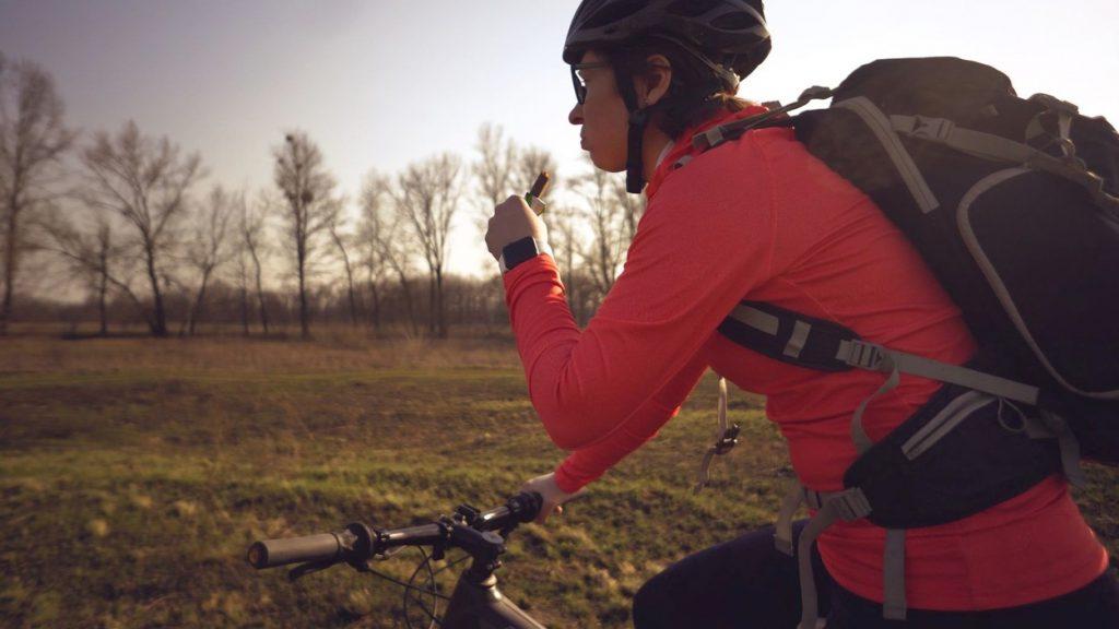 Eating on bike