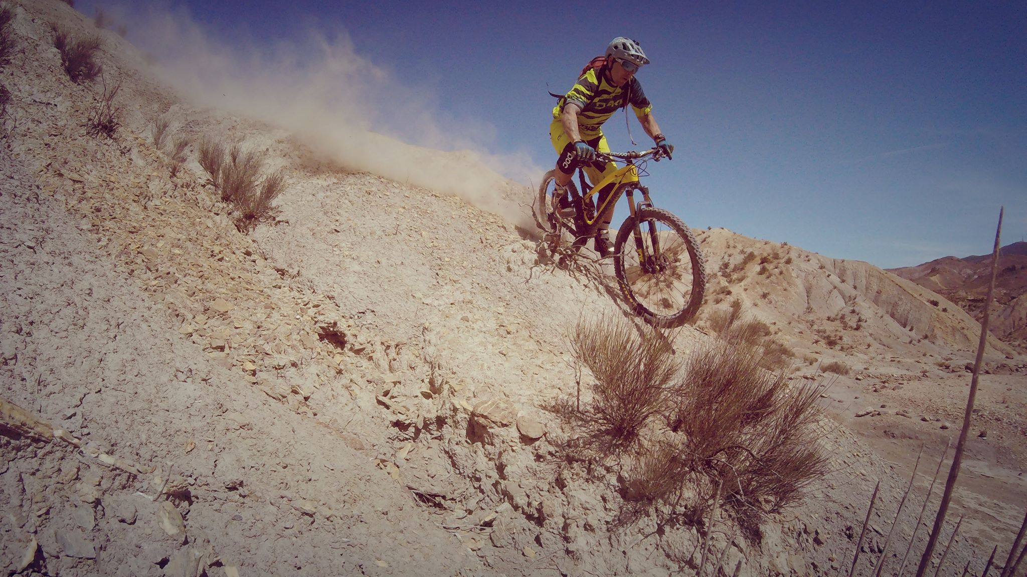 Gaspi charging downhill in Spain.